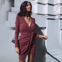 Solid Color Autumn and Winter Dress Asymmetric Hem Long Sleeve Dress Europe and America Sexy Deep V-neck Low-cut Women's Dress