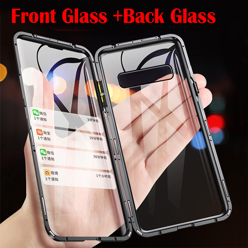 Magnetic Adsorption Double Side tempered Glass Phone Case For Samsung Galaxy S20 S10 S9 S8 Note 9 10 20 Ultra Plus A51 A71 Case