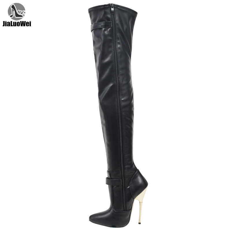 ใหม่สตรีเซ็กซี่สิทธิบัตรยืด Fetish เป้าต้นขารองเท้าส้นสูง Stiletto รองเท้า