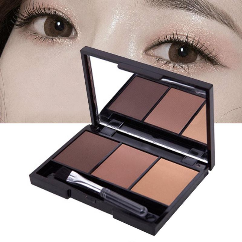 3 paleta de pó de sobrancelha de cor fácil de usar à prova dwaterproof água maquiagem sombra de olho com escova profissional cosméticos sobrancelha realçador