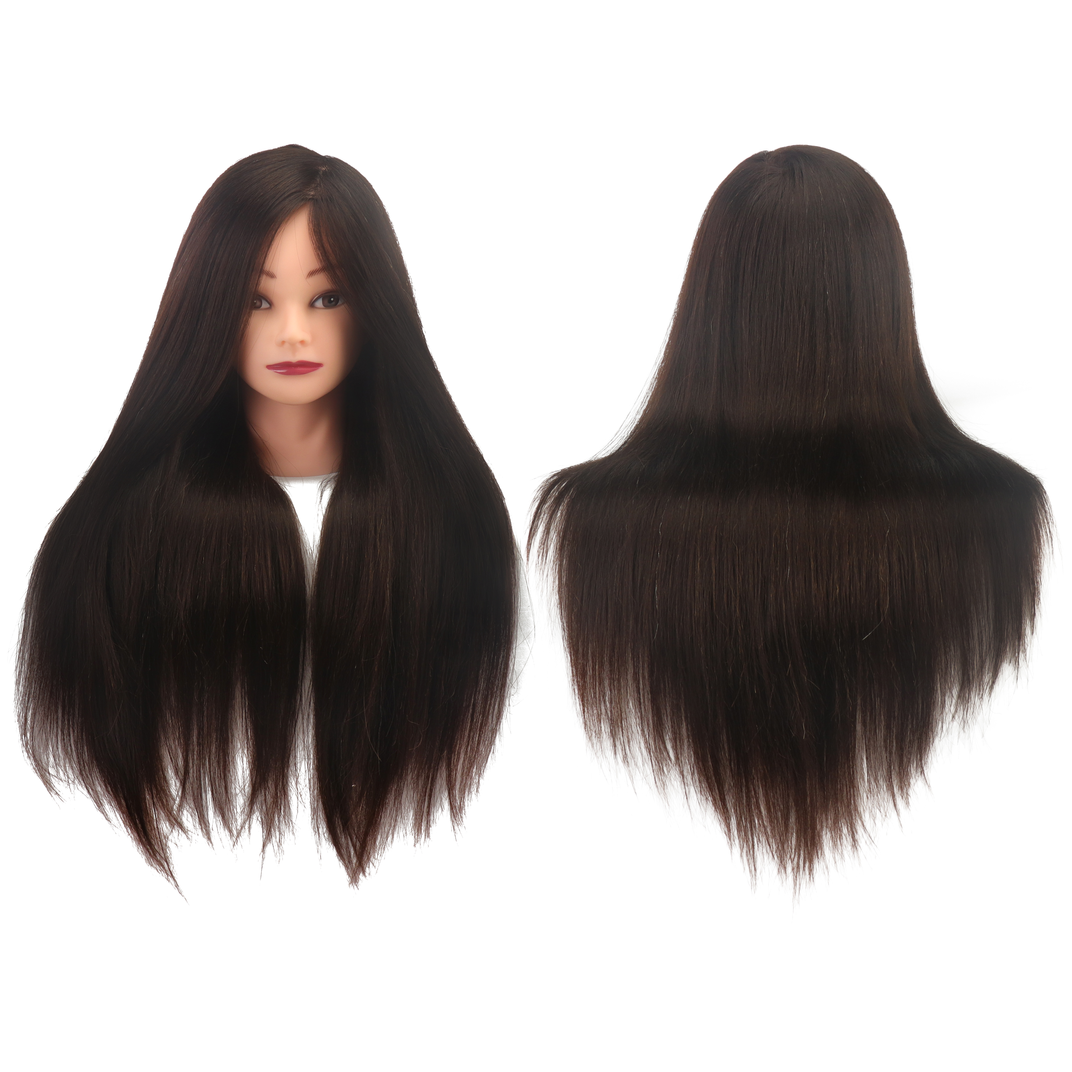 20 inches mixed maroon mannequin headstock long hair wig for hairdresser training head fiber mannequin Practice Head Model