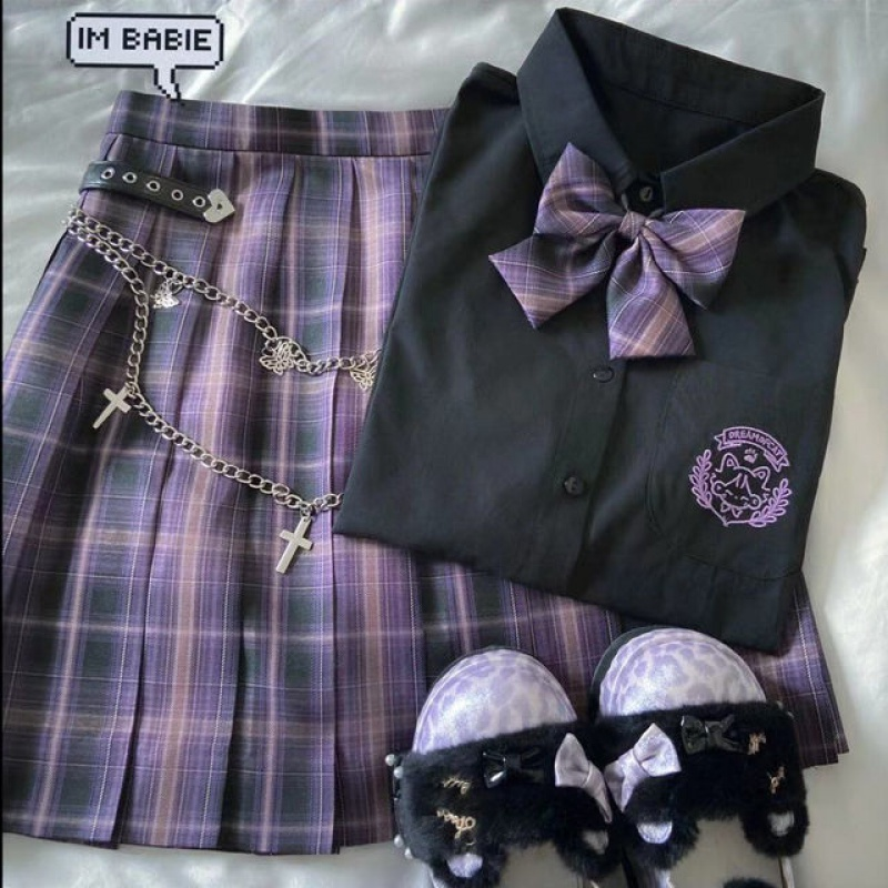 Japanese Harajuku Purple Pastel Cute Uniform (3 PCs) 1
