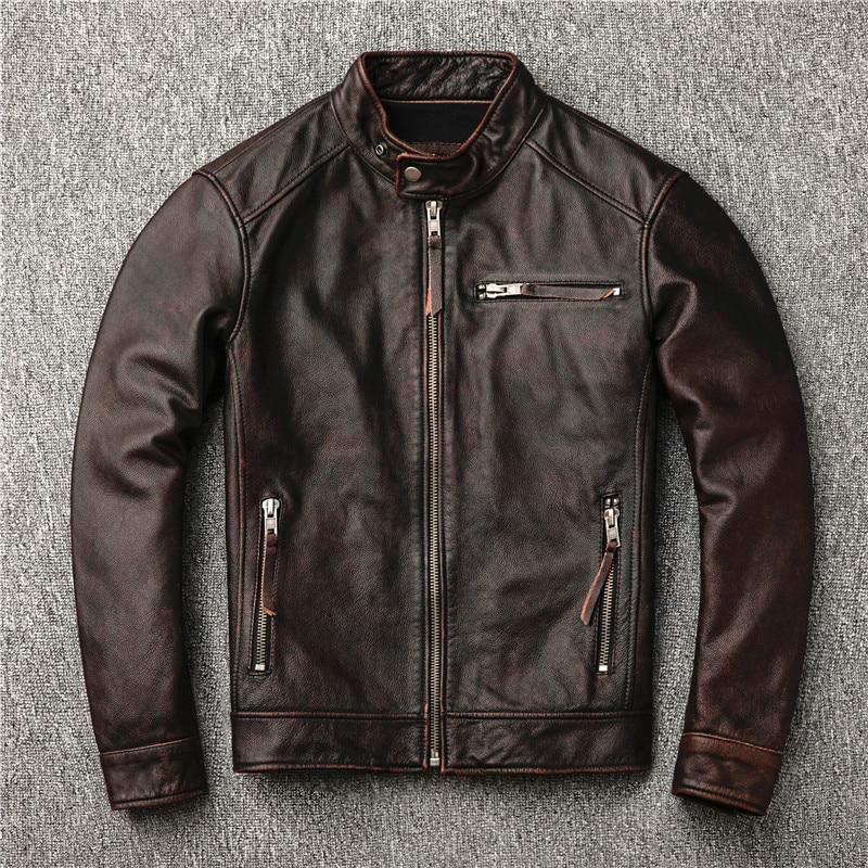 Hc4770ea728de40079bf1f9f0e6b4af00O Classic motor style,vintage genuine leather Jacket,fashion men brown Leather coat,street biker coat,sales