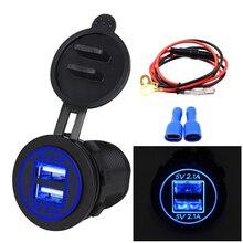 12 V/24 V Dual Port Auto USB Lader Stopcontact Voor Ipad Iphone Auto Boot Mobiele Telefoons Led licht Voor Auto Motorfiets