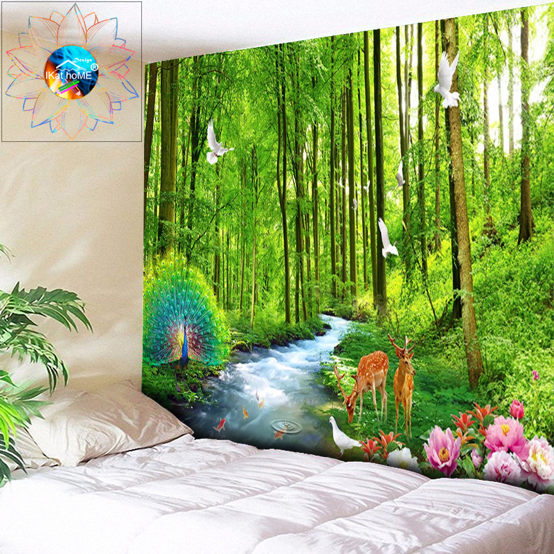 Beautiful Peacock Forest Tapestry Animal Wall Hanging Boho Flowers Decoration Hippie Carpet Large 200 * 300CM