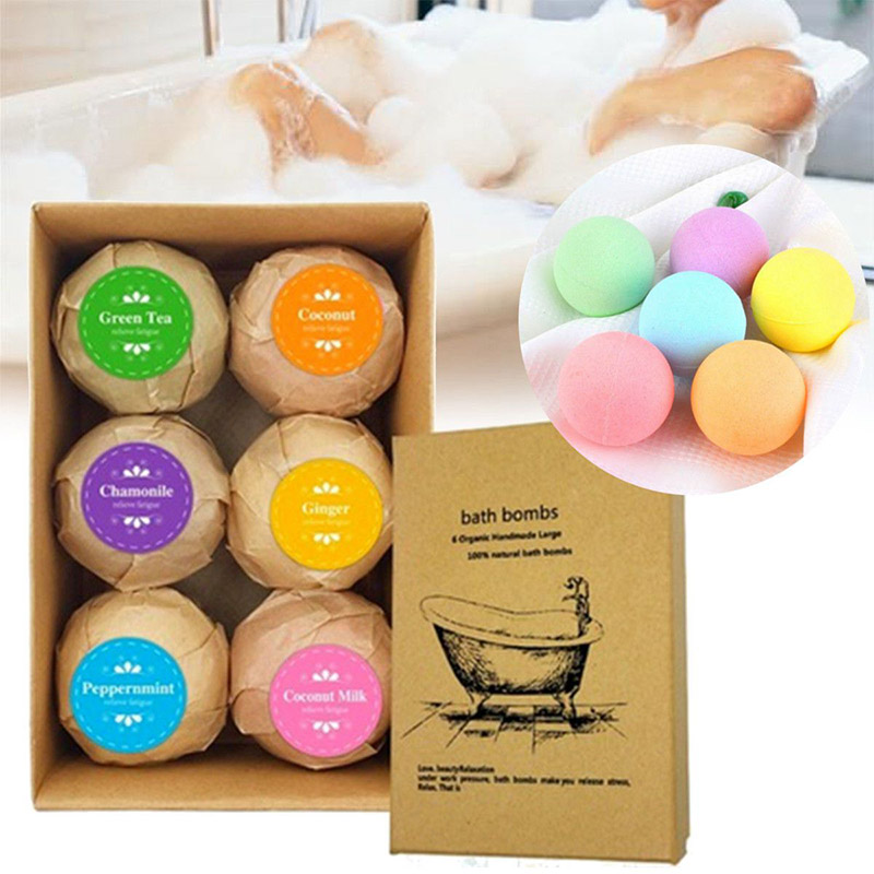 6pcs Fizzy Soak Bath Ball Essential Oil Spa Soap Birthday Gift For Women Kids Girlfriends