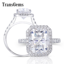 Transgems 14K 585 White Gold Center 5ct Cushion Cut 9X11mm GH Color Moissantie Halo Engagement Ring for Women Party Anniversity