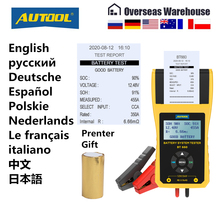 AUTOOL BT660 12V Car Battery Tester Auto Cranking Charging Tester CCA Vehicle Starting Diagnostic Tool Review Data with Printer