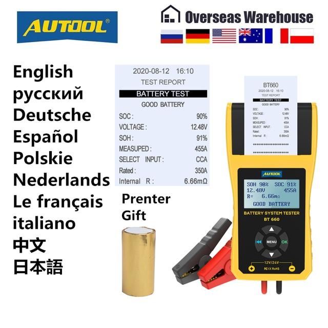 Autool BT660 12V Auto Batterij Tester Auto Zwengelen Opladen Tester Cca Voertuig Starten Diagnostic Tool Beoordeling Data Met Printer