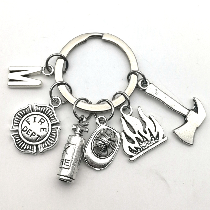 2020 New Fire Extinguisher And Flame Keychain Letters A-Z Firemen Fire Hero Key Ring Creative Firefighter Gift Fasion Jewellery