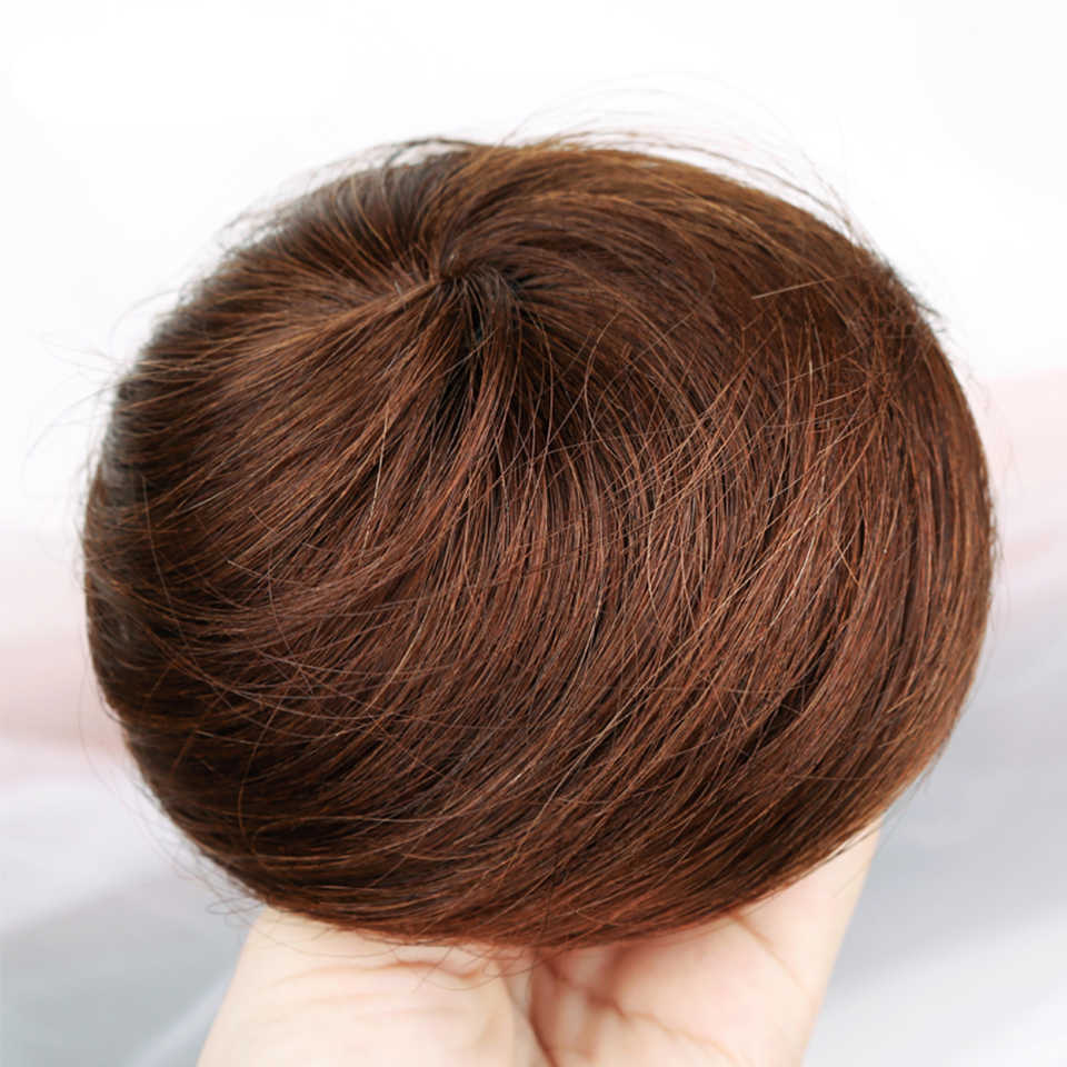 Krótki prosty żaroodporny syntetyczny zespół włosy Clip in Extension Chignon Donut Roller Bun peruka dla kobiet moda