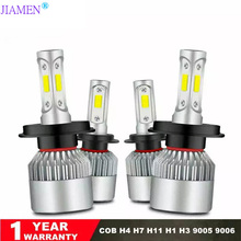 JIAMEN S2 COB Kit Turbo Led H7 Low and High 72W 8000LM Spot H1 H8 H9 H11 9005/hb3 9006/hb4 6500K Super White H4 Canbus