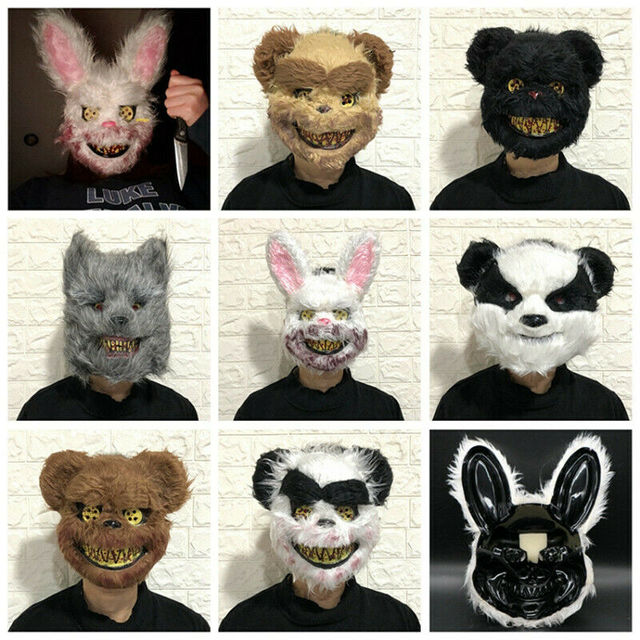 Halloween Scary Bloody Latex Animal Wolf Head With Hair Mask Fancy Dress Costume Party Horror Mask Adult/Kids 1