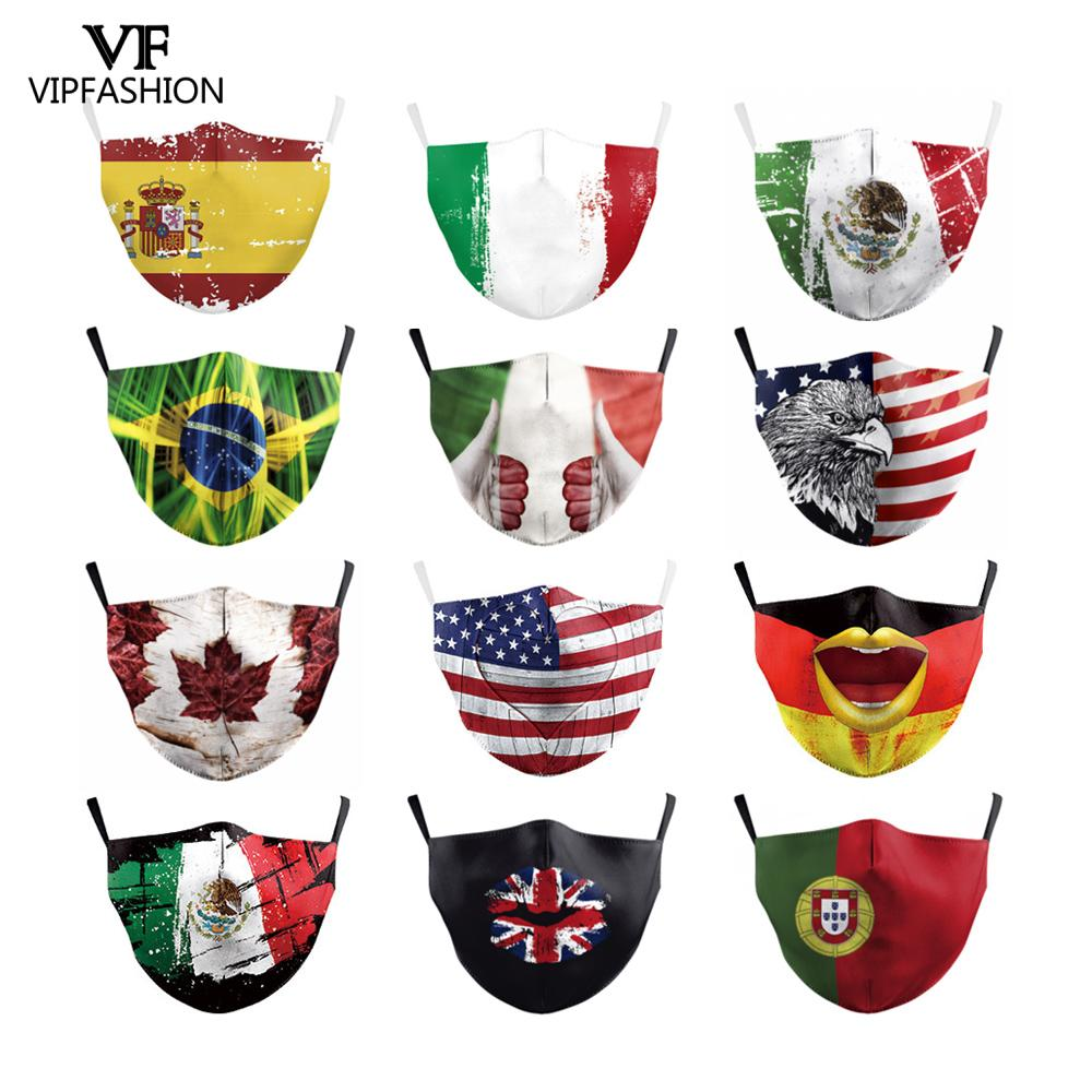 VIP FASHION Multicolor Art National Flag Printed Masks Adults Protective Windproof Anti Dust Breathable Reusable Washable Masks