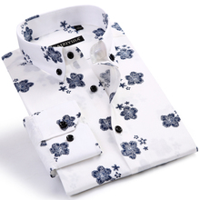 Men's Fashion Long Sleeve Floral Printed Shirts Worn-in Comfortable Standard-fit Casual Thin Button-down Collar Tops Shirt
