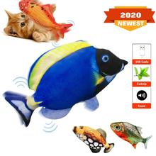 моделирование рыбной игрушки cat chew toys cat teaser fish cushions catnip cat supplies Electric Simulation Plush Fish Toy For Cat Interactive Cat Chew Bite Toys Supplies Kitty Kitten Fish Flop Cat Wagging Toy