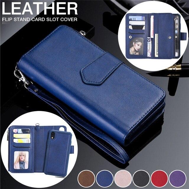 Magnetische Leather Case Voor Iphone Xr Xs 12 11 Pro Max X Se 2020 8 7 6 6S Plus 5 Wallet Card Cover Voor Samsung S20 S10 S9 S8 Gevallen