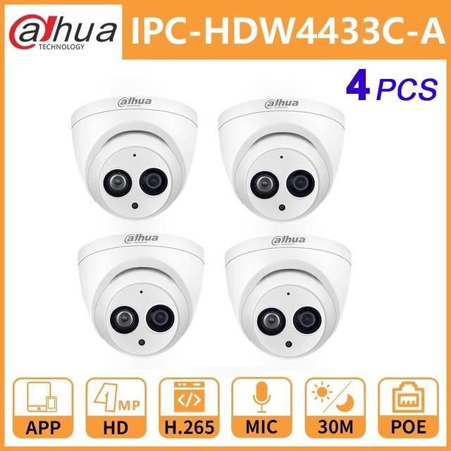 Cámara Dahua IP DH IPC HDW4433C A 4MP Cámara IP de red con cámara de luz de estrellas PoE HD Domo integrado Mic sistema de seguridad Onvif Cam