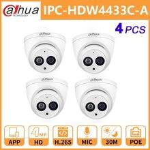 Dahua Ip Camera Dh IPC HDW4433C A 4MP Netwerk Ip Camera Met Poe Hd Starlight Camera Dome Ingebouwde Mic Security systeem Onvif Cam