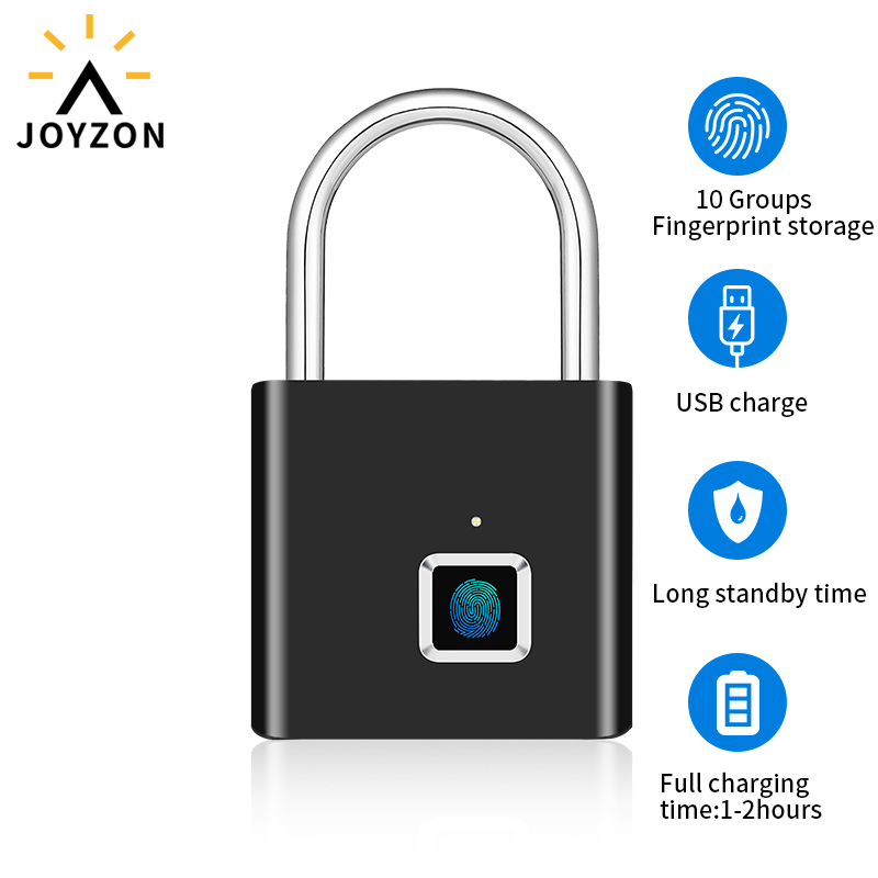 Joyzon Keyless USB Rechargeable Fingerprint Smart Padlock Quick Unlock Door Lock Zinc Alloy Metal For Bag Drawer Suitcase