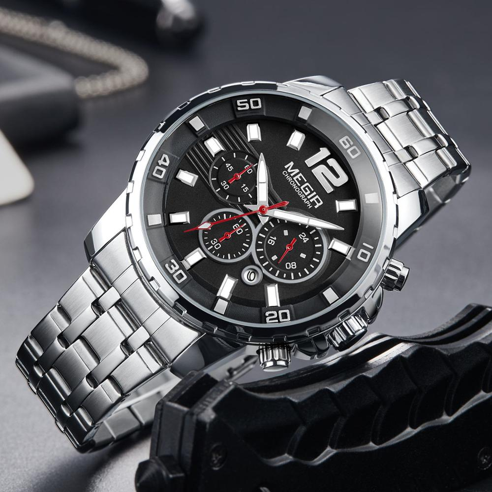 <font><b>MEGIR</b></font> Quartz Watch Stainless Steel Strap Luminous Waterproof Business Casual Stop Watch Chronograph Brand Luxury Gold Wristwatch image