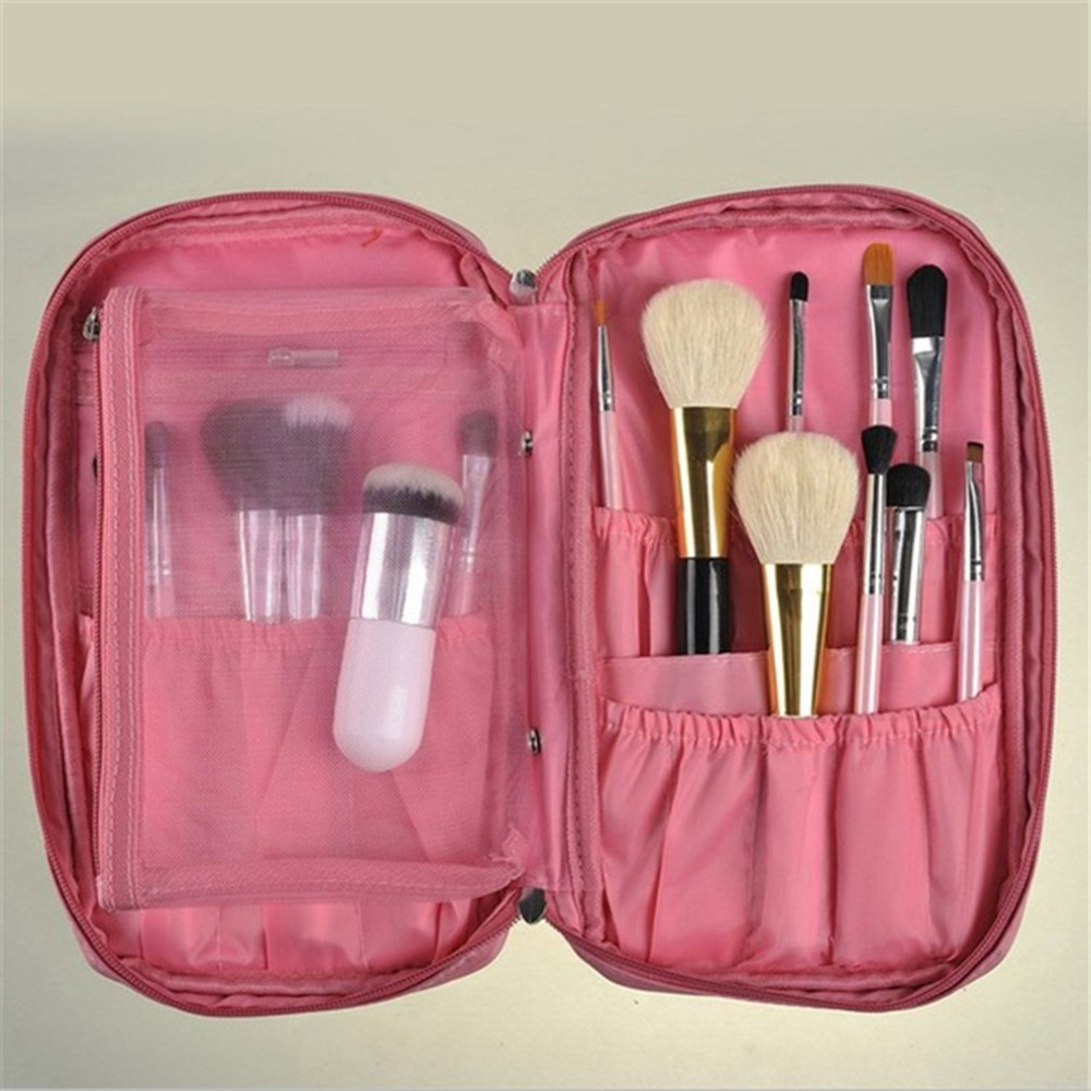 Oxford cloth Women makeup brushes Zipper Makeup Bag Ladies Comestic Travel Storage Bag Makeup tool kits