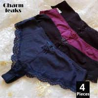 Charmleaks Women's Thong Lace Underwear Sexy Panties V String Panties Tanga Briefs Cotton 4 Pack 2019 Hot Sale Bottom Underwear