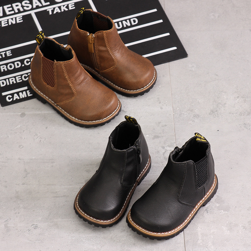 Winter New Children Martin Boots Fashion Side Zipper Girls Boots Quality Microfiber Boys Boots Soft Bottom Warm Baby Shoes
