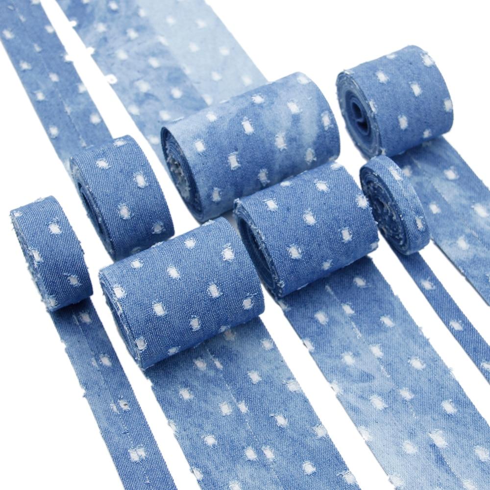 5 quintal/rolo denim em camadas fita de pano impresso fita de algodão arte costura materiais, diy materiais artesanais, 5yc8158
