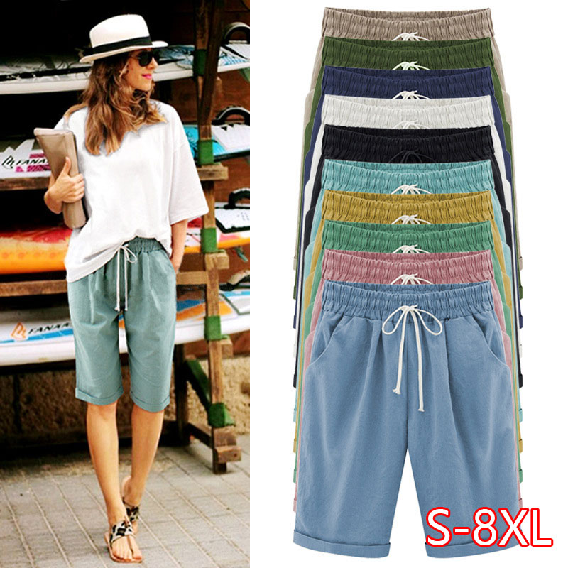 Oversized Women Summer Cotton Linen Shorts Casual Ladies Drawstring Elastic Loose Short Trousers Plus Size S-8XL
