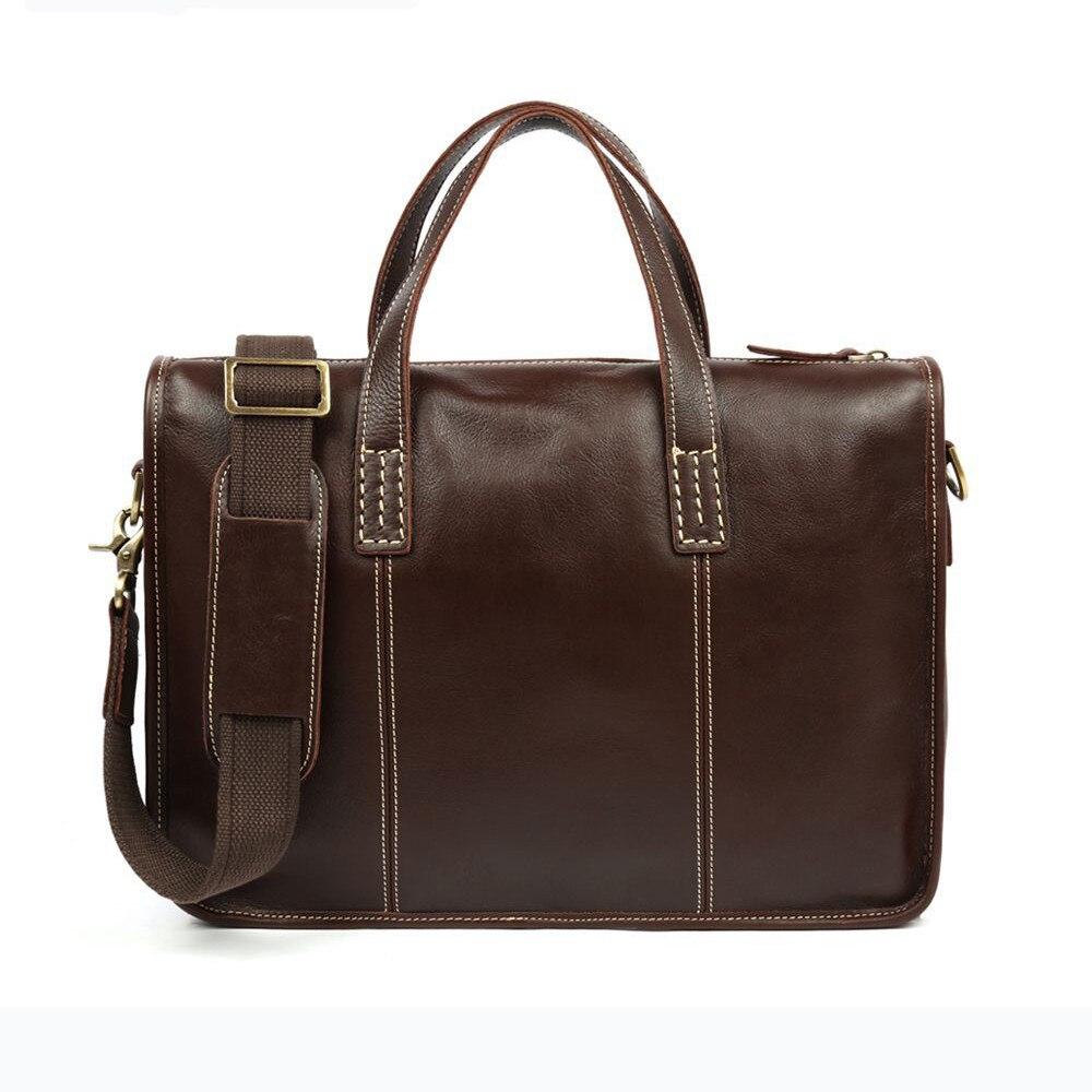 Genuine Leather Business Briefcase Men Handbag Vintage Cowhide Crossbody Laptop Messenger Bag For Male Adjustable Shoulder Strap