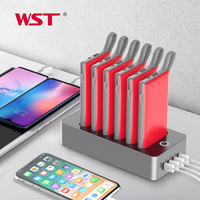 WST New Arrival Portable Power Bank Charger Station Multifunction 6PCS 10000mAh External Battery for Bussiness and Public