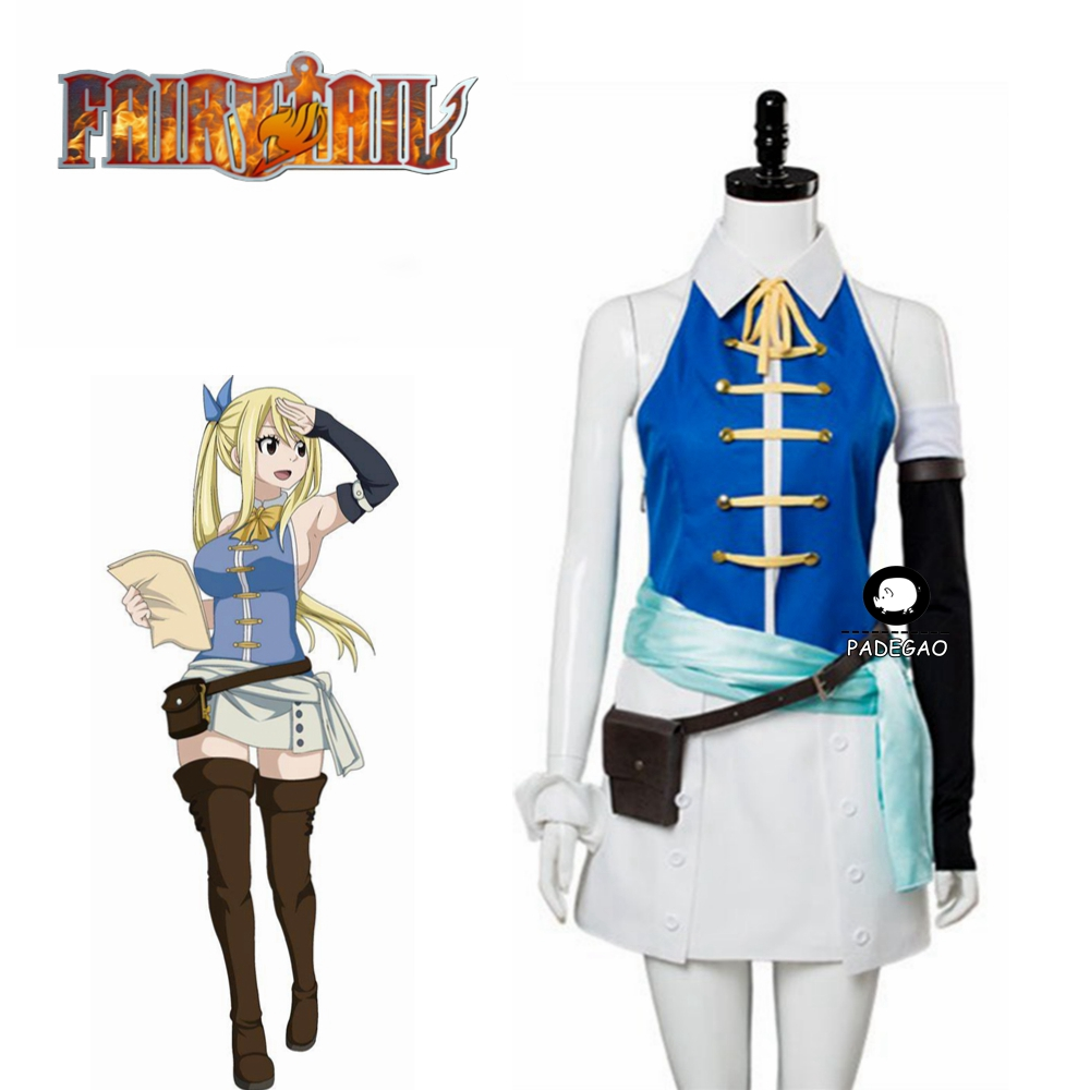 Anime Fairy Tail Lucy Heartfilia Cosplay Costume Backless Adult Women Halloween Carnival Show Party Dress Full Set