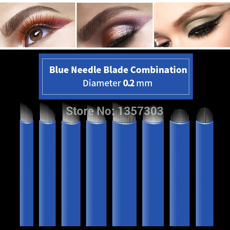 50pcs Blue 0.20mm Microblading Needles For Tattoo Lamina Tebori 7 9 11 12 14 Flex Blades U Shape Permanent Makeup Needle Blade