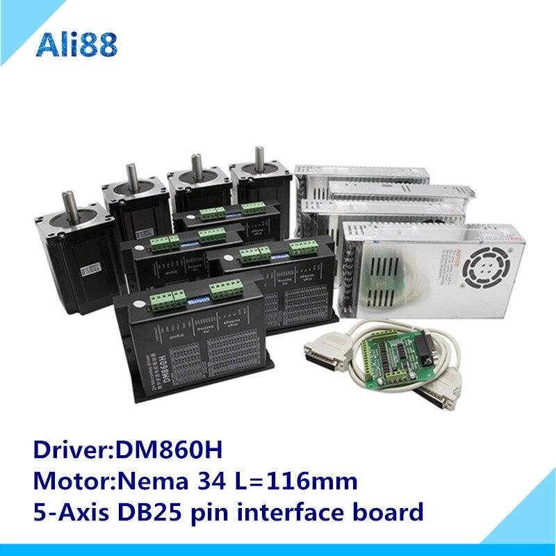 4 оси ЧПУ маршрутизатор комплект токарного станка: Nema 34 шаговый двигатель 86HS4802 + DM860H Серводвигатель + 5 оси секционная плата + блок питания