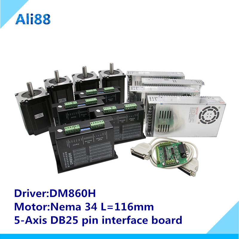 4 assi Router di CNC Tornio Kit: nema 34 Motore Passo A Passo di 86HS4802 + DM860H servo Driver + 5 assi Breakout Board + Power supply