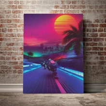 Home Decoration Synthwave Midnight Outrun Canvas HD Sun Prints Poster Painting Living Room Wall Art Modular Picture No Framework