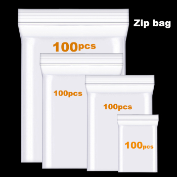 100pcs Clear Thick Heavy-Duty Zip Lock Ziplock Storage Bag Package Plastic Small Reclosable Poly Bags Thicken 3.6MIL 0.08mm image