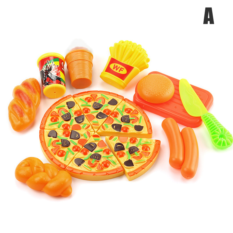 Play Fast Food Kit For Kids Kitchen Pizza Fruit Set Roleplay Toddler Playhouse Game M09