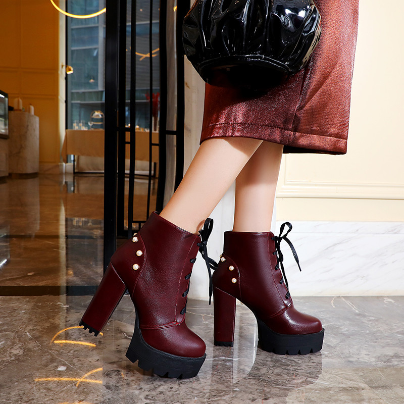 2019 Autumn Winter Super High Heels Gothic Shoes Platforms Booties Black Wine Red Womens Punk Rock Lace Up Ankle Boots