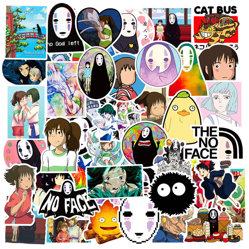 10/30/50pcsWaterproof PVC Anime Spirited Away Girl Stickers Guitar Skateboard Suitcase Children Graffiti Sticker Kid Classic Toy
