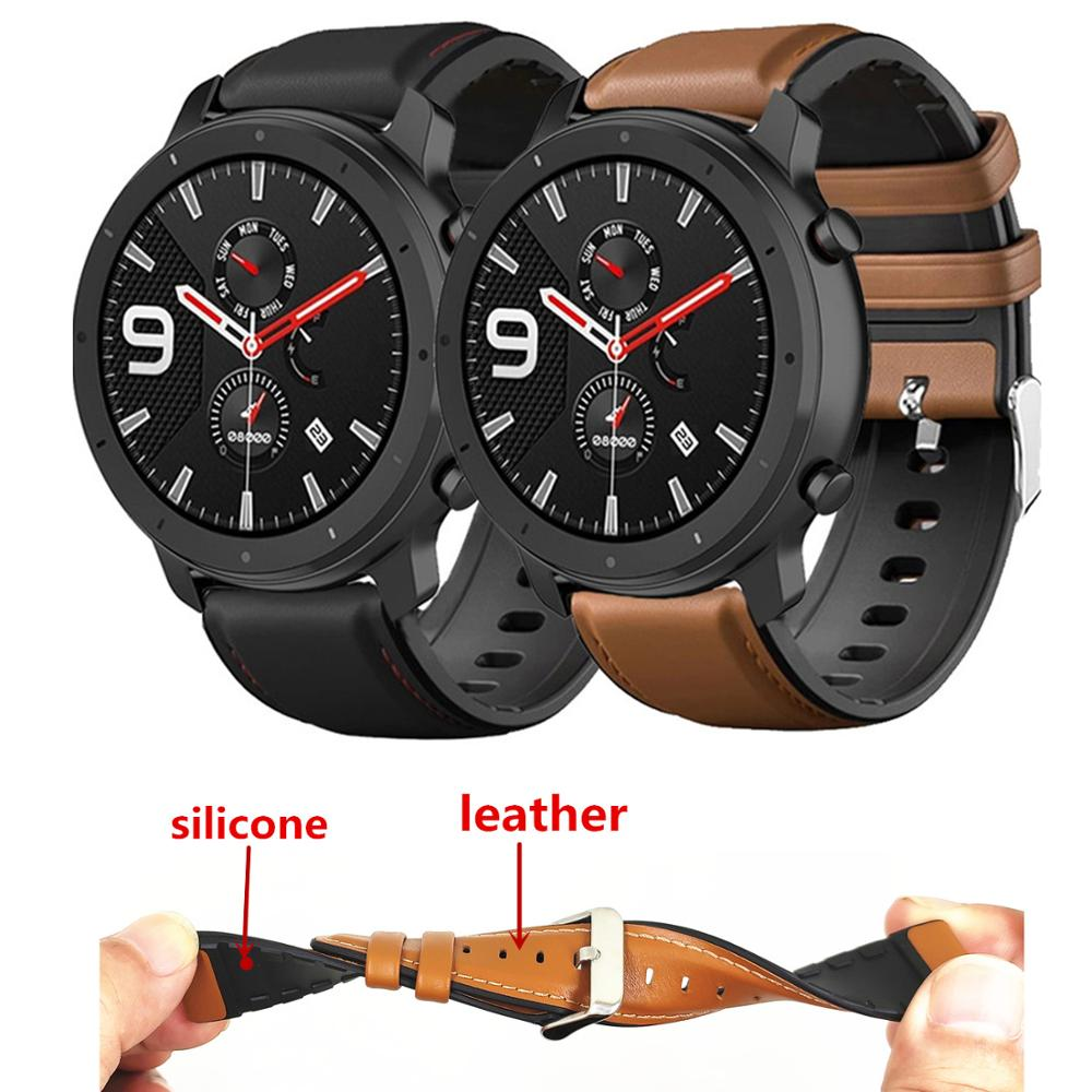 Leather + Silicone Bracelet Band For Xiaomi Amazfit GTR 47mm Pace Stratos 2 Watch Strap For Huawei Watch GT Honor Magic Correa(China)