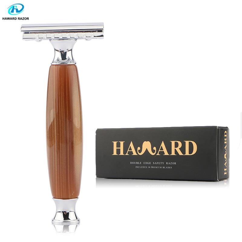 HAWARD Safety Razor Men's Classic Manual Shaver Double Edge Shaving Razor Imitation Agate Handle+Zinc Alloy Head 10 Blades