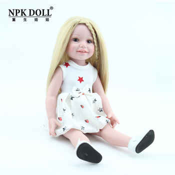 45cm bebe Reborn American baby Dolls blond girl Realistic vinyl Silicone Baby Doll Toys for Children birthday Gift