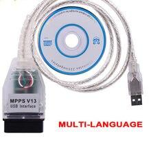Programador ECU MPPS V13.02 V13 K CAN Flasher, nuevo dispositivo con interfaz USB, Cable de diagnóstico automático, 16 Pines, 2020