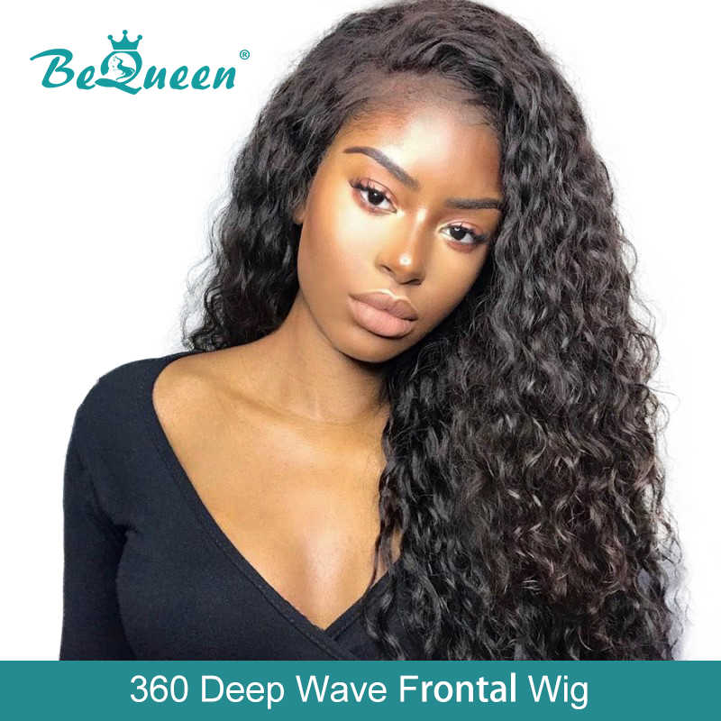 BeQueen 360 Human Hair Wigs Peruvian Deep Wave Wig Pre-plucked Hairline Human Hair Wig For Black Women