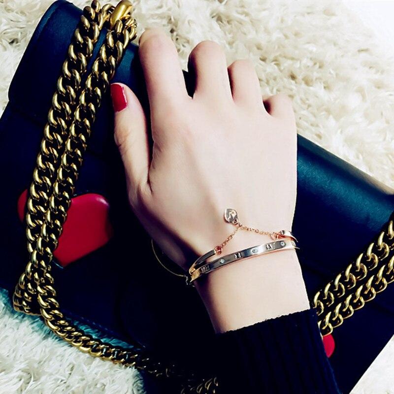Hot Luxury Rose Gold Stainless Steel Bracelets Bangles Female Heart Wedding Love Brand Charm Bracelet for Women Famous Jewelry 1