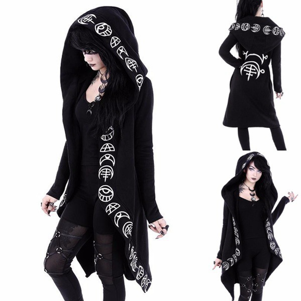 Nice Tide Halloween Wizard Cosplay Long Sleeve Gothic Top Women Magic Graphic Printed Hooded Coats Casual Punk Pullovers Jackets
