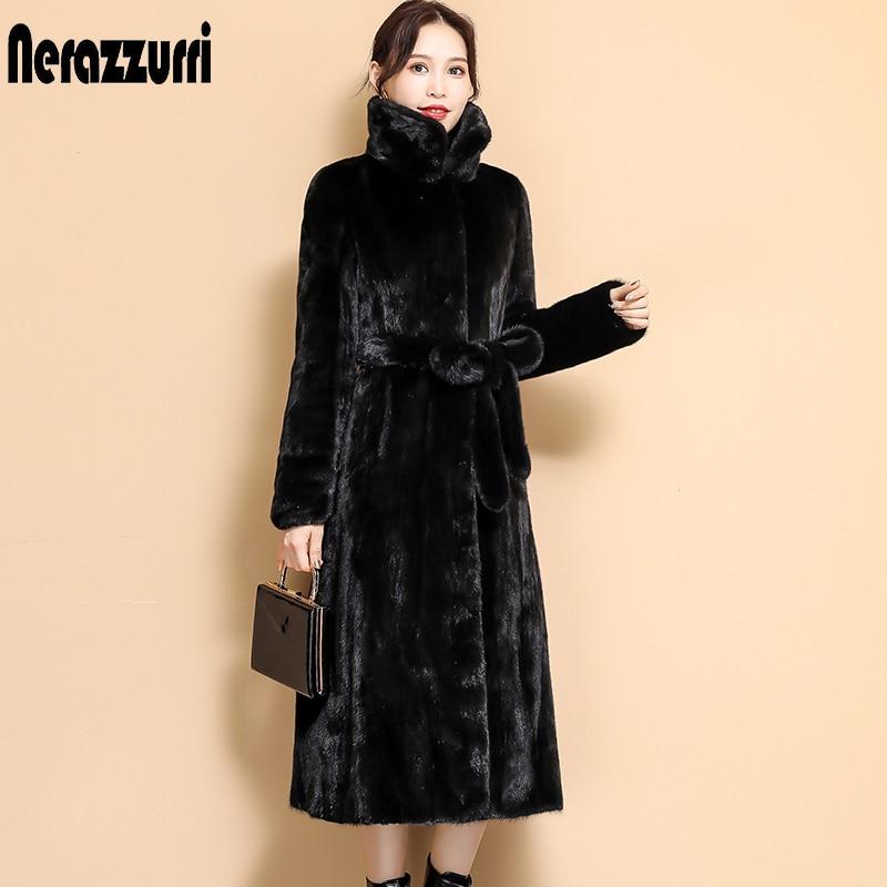 Nerazzurri High Quality Winter Long Fluffy Faux Fur Coat Women Long Sleeve Belt Black Fake Mink Fur Overcoat Plus Size Fashion