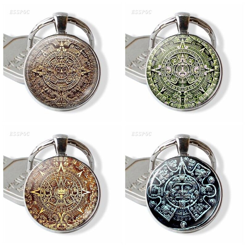 Mayan Calendar Keychain Glass Cabochon Metal Jewelry Mayan Art Pendant Man Women Fashion Bag Accessories